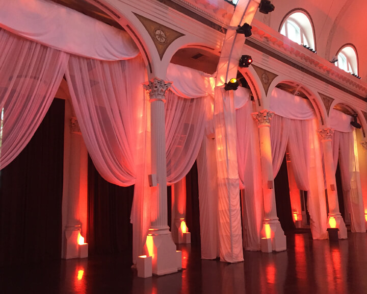 Swagged Arch Sheer Voile Chiffon Wedding Drapery from Turn of Events Las Vegas