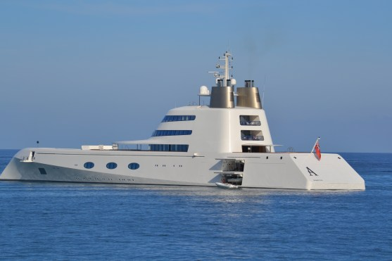 Yacht 'A' - ugly thing! But huge - this was offshore from Cannes - we also saw it from Monaco