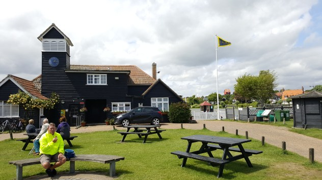 The boat house at Thorpeness - note the 'house in the clouds' in the distance