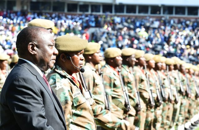 ramaphosa with troops