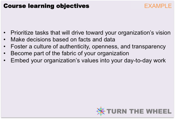 Learning objectives example