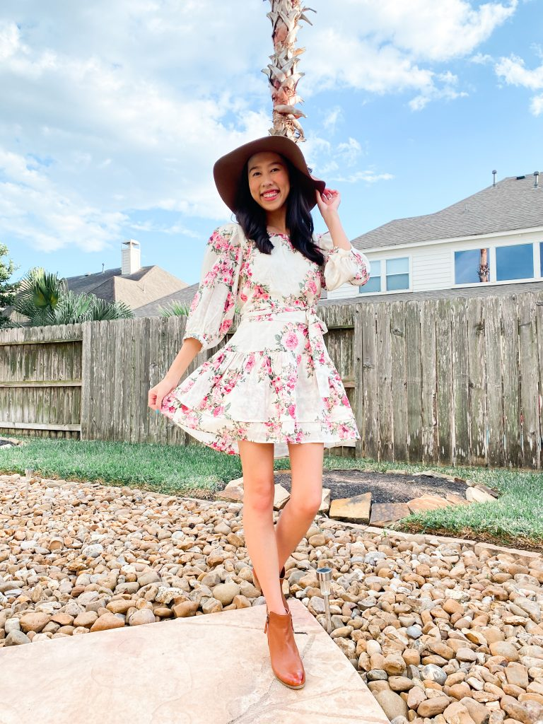floral dress and hat outfit