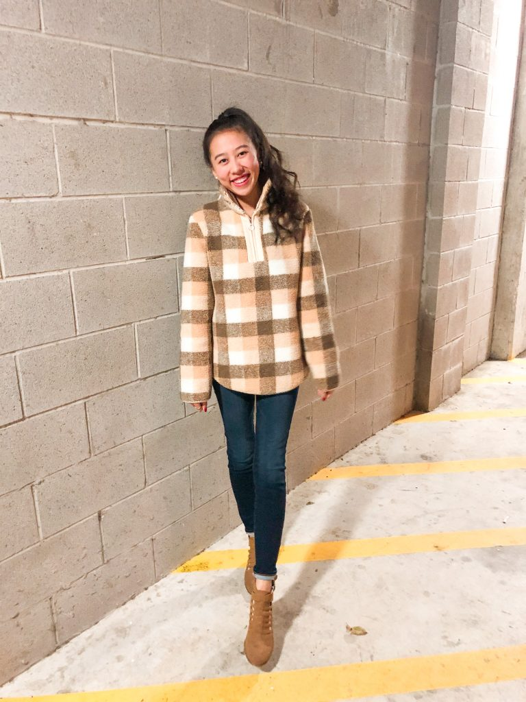 plaid pullover outfit