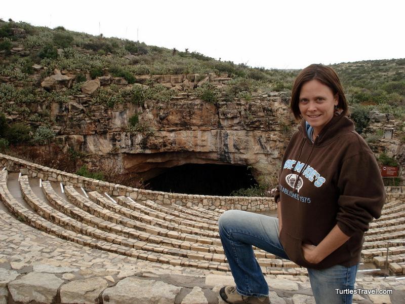 Tamara at the entrance of Carlsbad Caverns