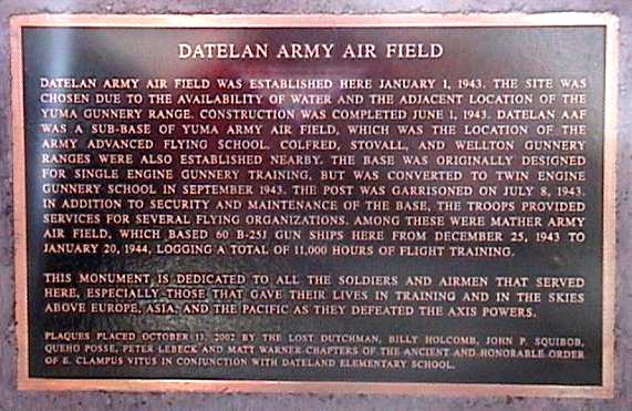 Dateland, Arizona plaque