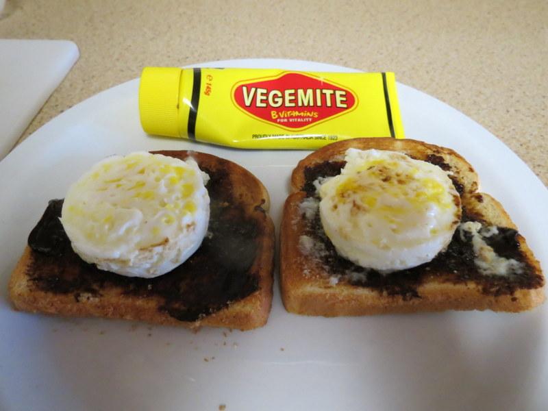 Eggs on Vegemite Toast - my favorite breakfast!