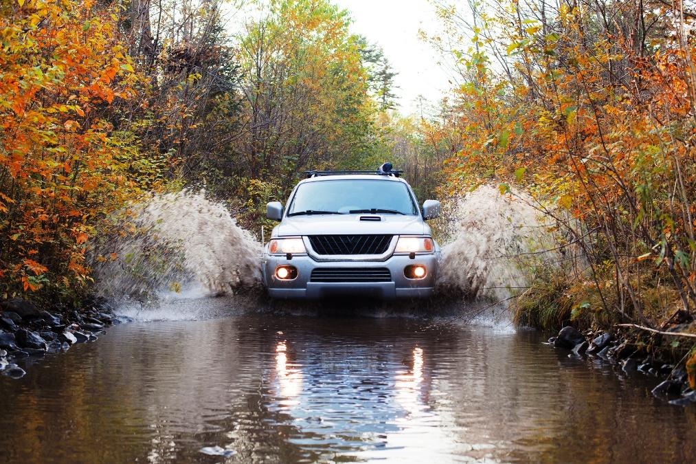 Autumn ride in forest on 4wd vehicle