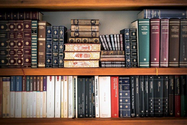 Bookshelves with hardback books