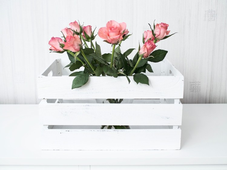 A white box with pink roses in