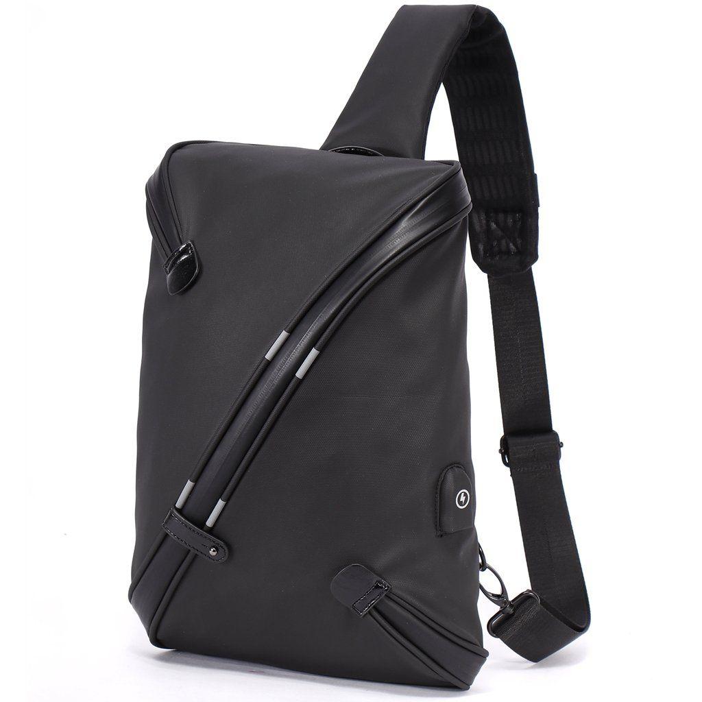 Bolsos Bandolera para Hombre con USB - Mochila bandolera con USB (Negro) 1