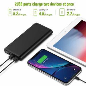 Batería Externa con 2 USB, móvil y tableta
