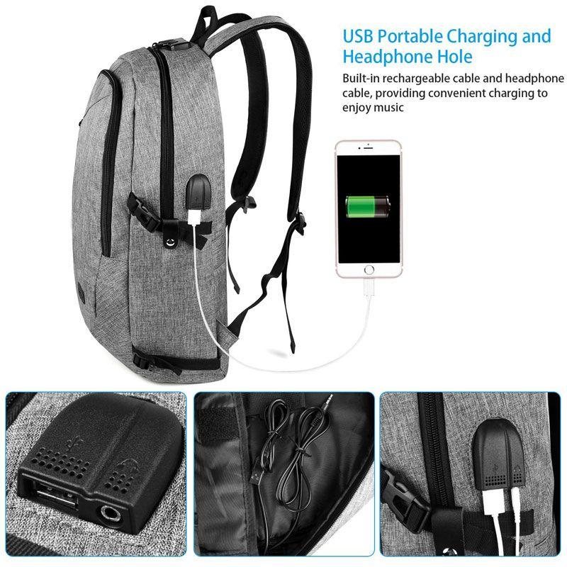 BYM detalle del cargardor USB de la mochila gris de Tus bolsos y mochilas