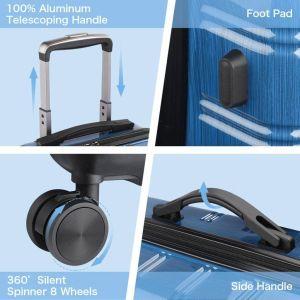 ruedas giratorias y asa de Maleta Cabina Rígida con Puerto USB y Candado TSA - REYLEO 3 color azul