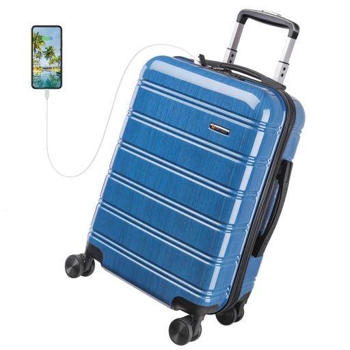 Maleta Cabina Rígida con Puerto USB y Candado TSA - REYLEO Color azul