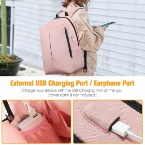 Chica con mochila   Mochila Inteligente con Puerto de Carga USB - FINPAC 3 color rosa