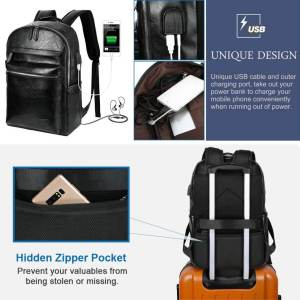 mochila negra con bateria externa