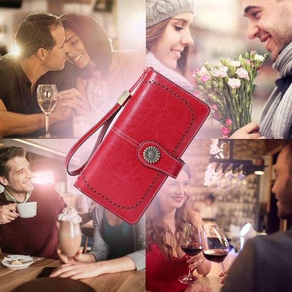 Cartera Cuero Mujer Bloqueo RFID Monedero Piel Mujer Grande con Muchos Bolsillos, Billetera Larga Mujer con Cremallera (4)