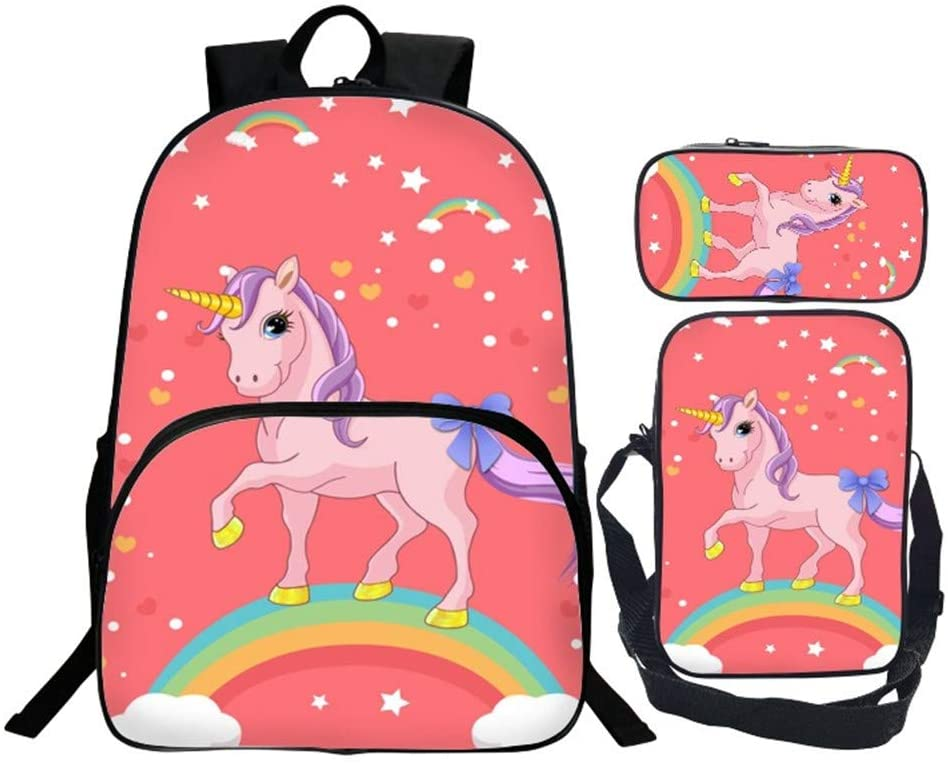 KIYOUMI mochila de unicornio mochila escolar de 3 piezas para niños bolsa de almuerzo y bolsa de lapices mochila juvenil impresa en 3D (12)