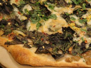 This is a swiss chard pizza - it won't look like this