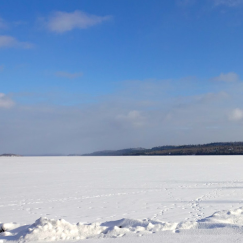 Frozen Gunflint Lake looking at the U.S. and Canada in northern Minnesota's Boundary Waters