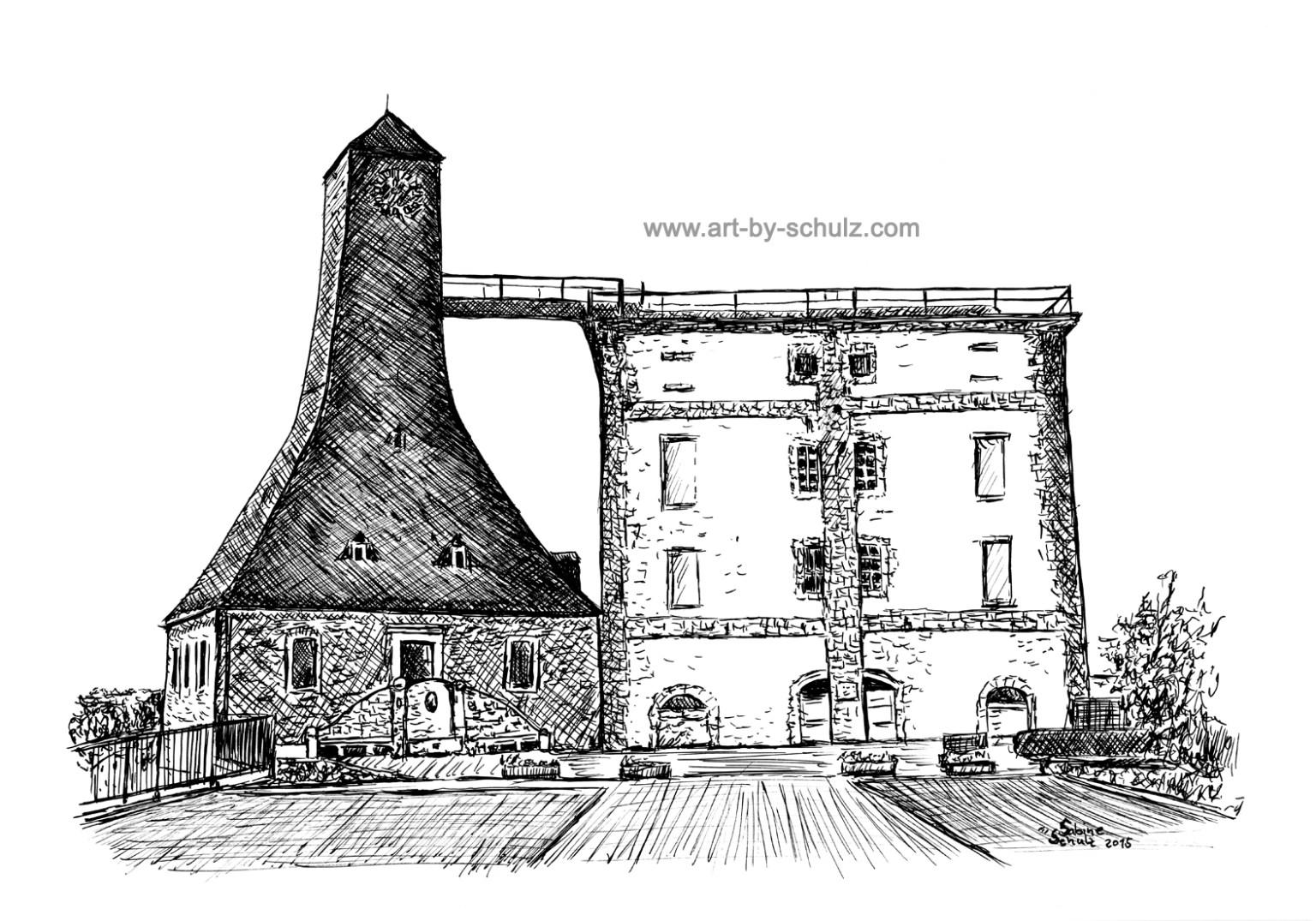 Bad Dürrenberg, Borlach Turm, Sabine Schulz, Tusche, Tusche Verlag, Zeichnung