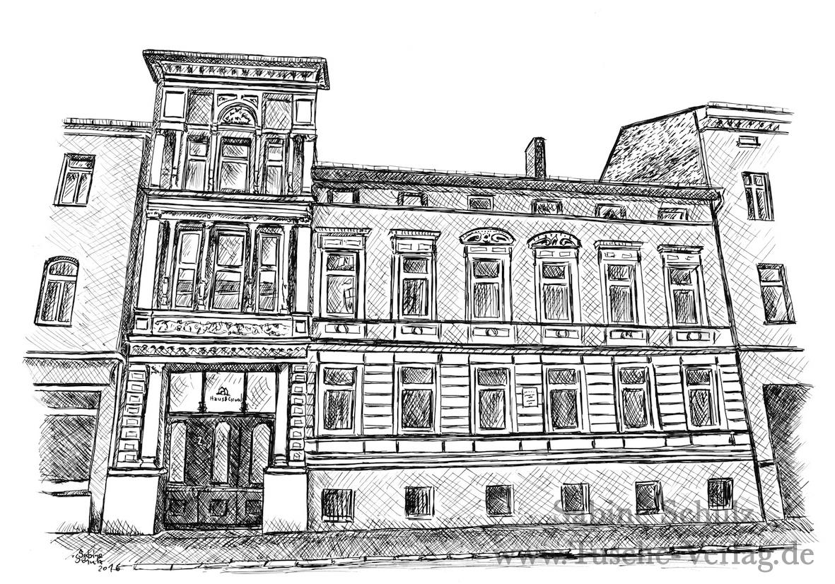 Berburger Straße 2, Halle (Saale), Sabine Schulz, Tusche, Tusche Verlag, Zeichnung
