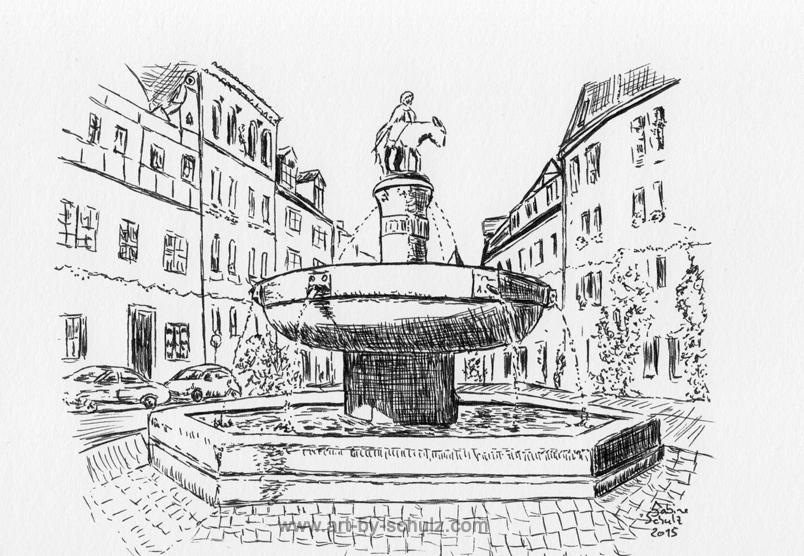 Eselsbrunnen, Halle (Saale), Sabine Schulz, Tusche, Tusche Verlag, Zeichnung