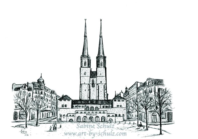 Hallmarkt, Halle (Saale), Tusche, Sabine Schulz