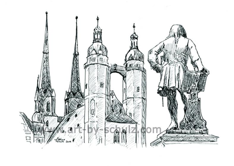 Markt mit Händeldenkmal, Halle (Saale), Sabine Schulz, Tusche, Tusche Verlag, Zeichnung