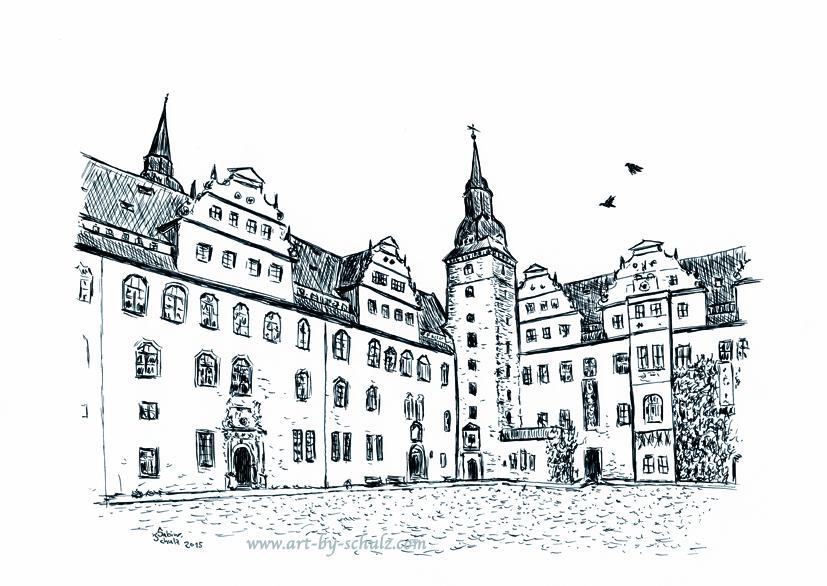 Schloss, Merseburg, Sabine Schulz, Tusche, Tusche Verlag, Zeichnung