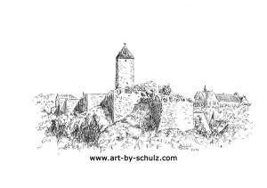Burg Giebichenstein, 2014, Halle (Saale), Sabine Schulz, Tusche, Tusche Verlag, Zeichnung
