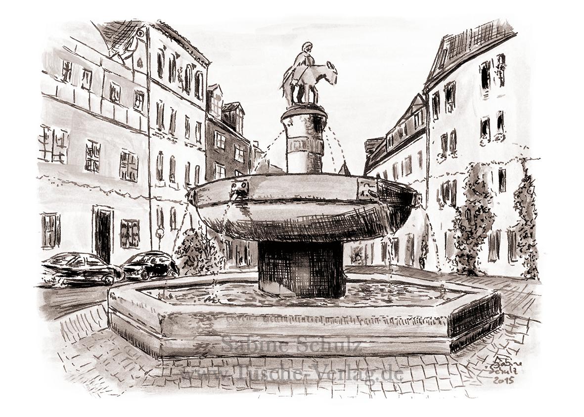 Eselsbrunnen, Sepia, Halle (Saale), Sabine Schulz, Tusche, Tusche Verlag, Zeichnung