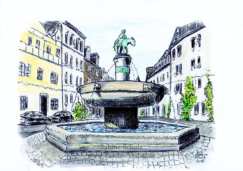 Eselsbrunnen, farbig, Halle (Saale), Sabine Schulz, Tusche, Tusche Verlag, Zeichnung