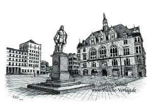 Händel, Sabine Schulz, Tusche, Ratshof, Grafik, Halle (Saale), Marktplatz