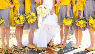 bridesmaids-yellow-gray-dresses-wedding-bouquets-trends-ramos-amarillo-gris-damas-vestidos-boda-novia-bride-tendencias-2013-2014-www.joyfulevents.com.mx