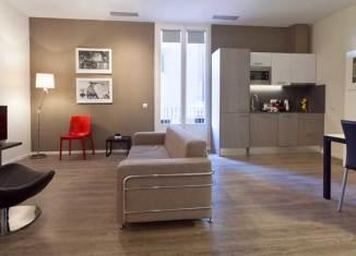 Salón comedor de los Apartamentos Aspasios en Barcelona