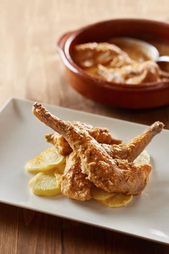 Gastronomía típica de la zona. Conejo rustido del restaurante Cunirri de Duesaigues