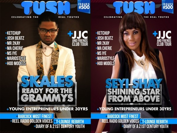 Skales and Seyi Shay On Tush Magazine Issue 5 Cover Pages