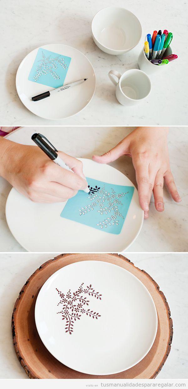 C mo decorar un plato con rotulador permanente paso a - Decorar tazas con rotulador permanente ...