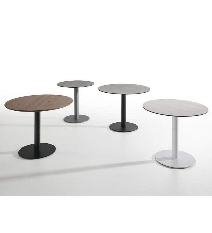 table ronde avec plateau dekton et base centrale