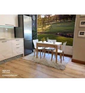kiito mesa con cajon en madera y encimera cristal