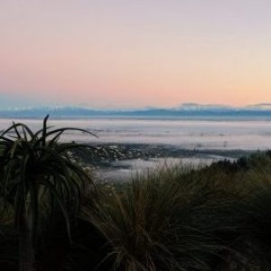 Foggy morning on the Port Hills looking out to the Southern Alps
