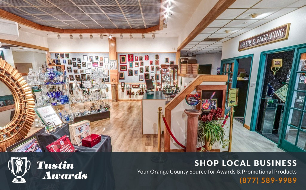 Spacious showroom displaying custom awards and promotional products