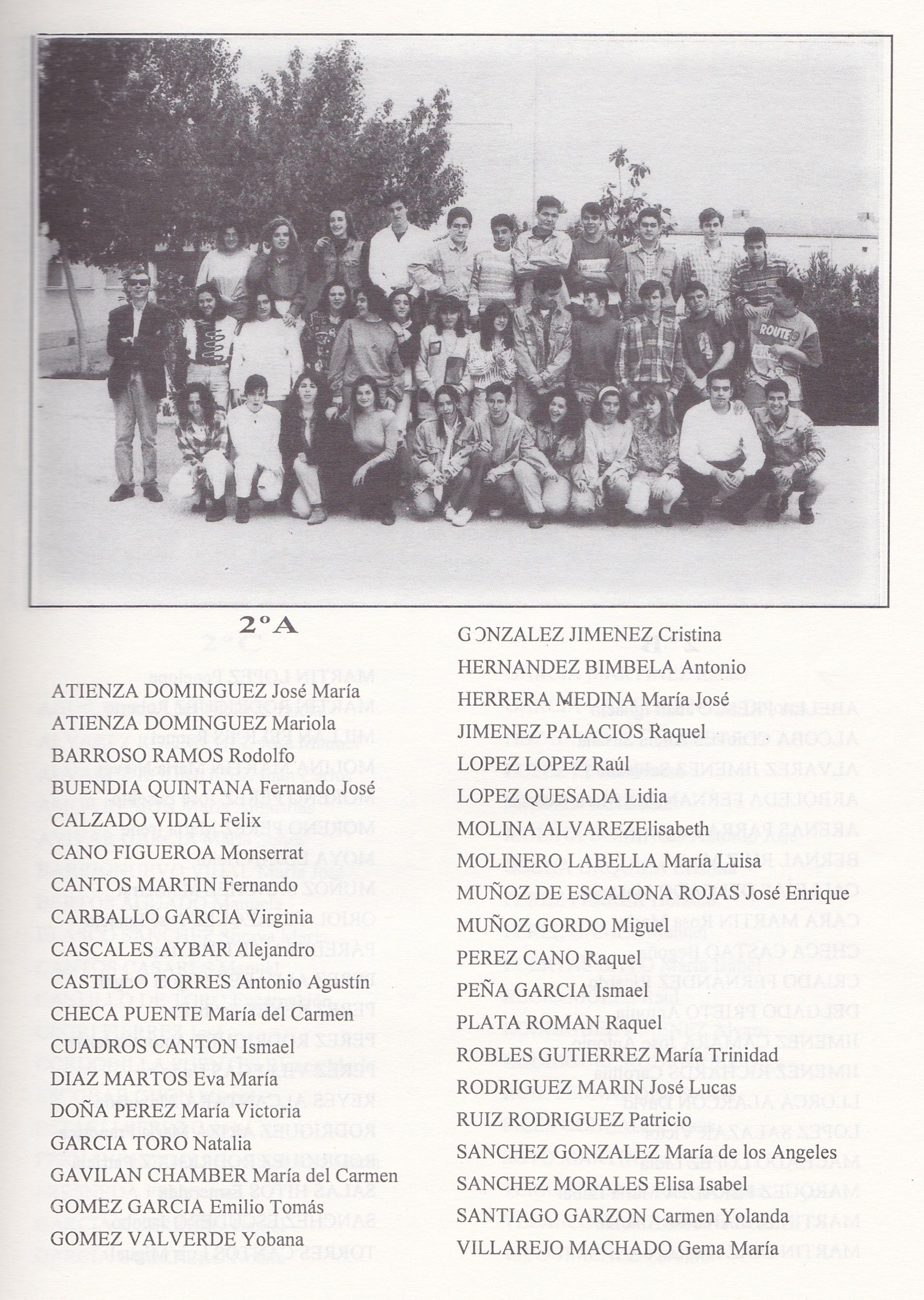 2º BUP A (curso 1993-1994)