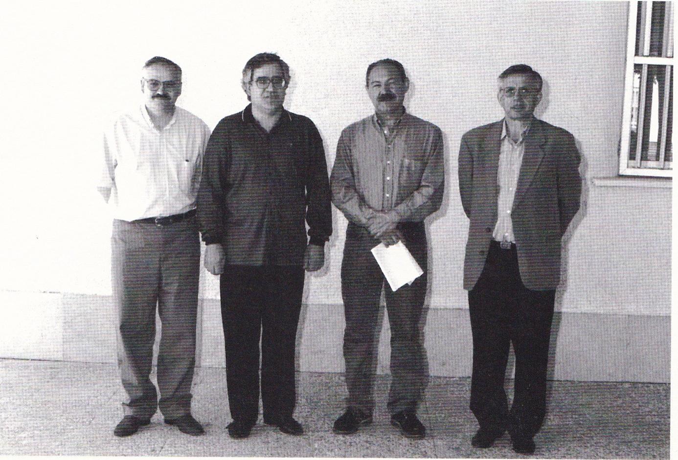 De izqda. a dcha: Vicedirector: Antonio Salinas García. Director: José Liébana Pérez. Jefe de Estudios: Ramón Soto Porras. Secretario: Carlos Rivero Sutil.