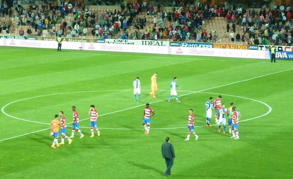 Los jugadores del Granada C.F. al final del encuentro en un acto de humildad y respeto hacia el público se situaron en el centro del campo responsabilizándose de todo lo ocurrido en el terreno de juego. PHOTO: Autor del artículo.