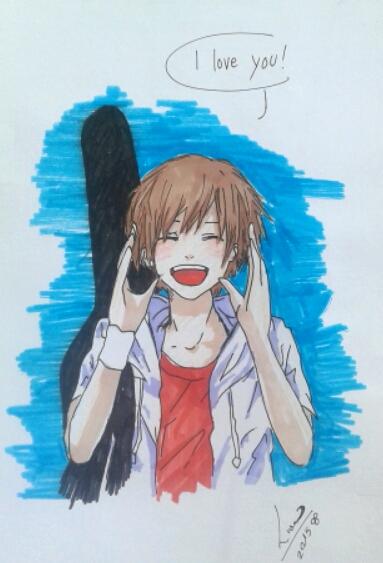 """""""En el dibujo podemos observar a un chico gritando """"te quiero"""". Este dibujo es un dibujo manga (palabra  japonesa que designa las historietas en general). Las características de este tipo de dibujo son los ojos grandes y las facciones típicas de este estilo de animación"""" (Lumi Show)."""