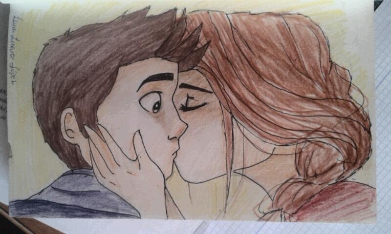 """""""Para hacer este dibujo me inspiré claramente en el AMOR. Y, ya harta por la invasión de dibujos de besos inesperados  de parte de los chicos, decidí dibujar lo contrario. El chico, sorprendido por el beso inesperado de su amiga, la mira con desconcierto"""" (Lumi Show)."""