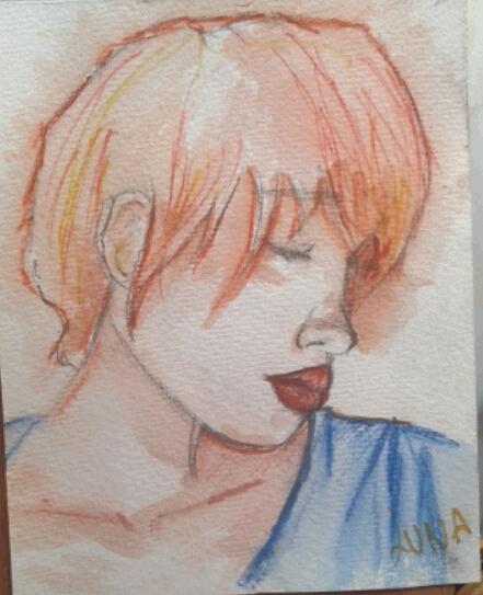 """""""Realizado con acuarelas y lápices acuarelables, este dibujo se inspira en los retratos coloridos de la pintura pop llevándola a un estilo más suave, favorecido por el juego que da el agua con la pintura"""" (Lumi Show."""