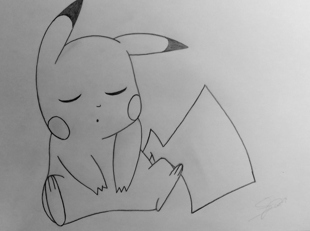 """""""Dedicado a una de las  series preferidas de mi infancia, Pokémon. En este dibujo se puede ver mi pokemon favorito llamado Pikachu dormido"""" (Santiago)."""